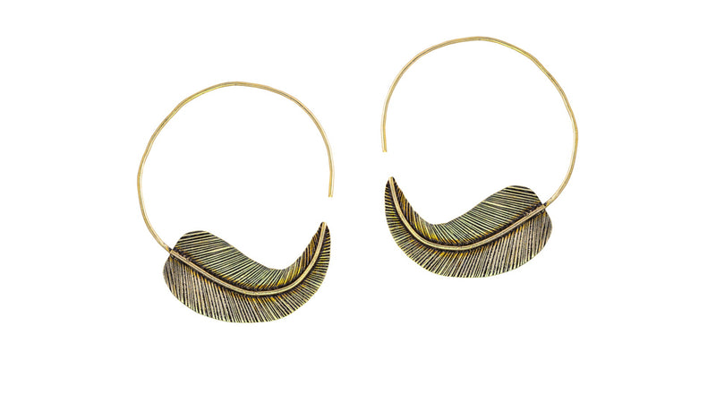 Leaf Hoops Small -Brass