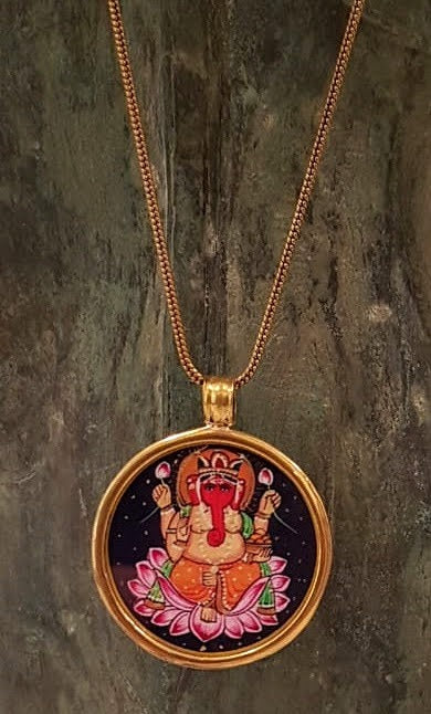 buddha print elephant colorful pendant on brass chain.