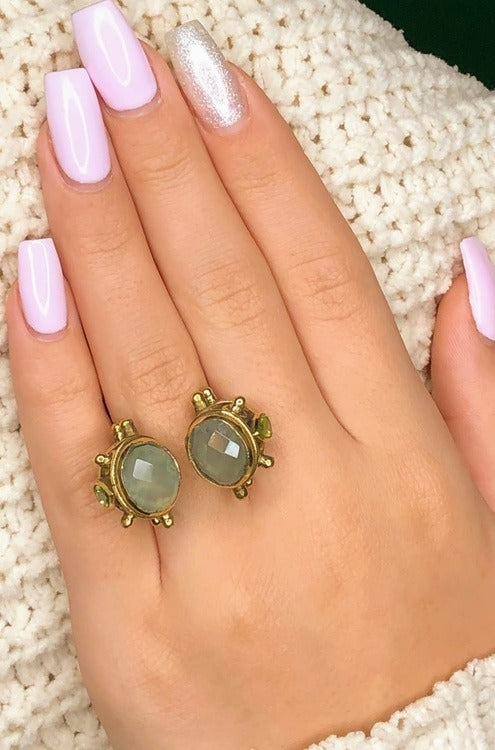 large double stone brass ring adjustable