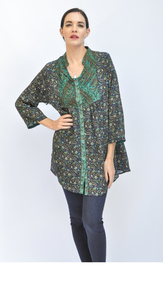 Cozy Tunic -Upcycled Sari (assorted prints)