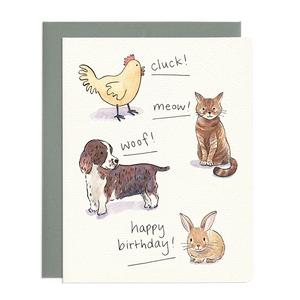 Animal Sounds Birthday Card