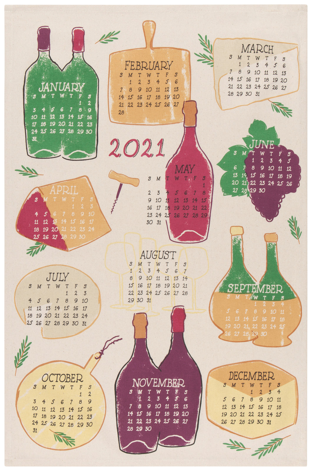Tea Towel Print 2021 A Wine Year
