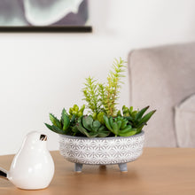 Load image into Gallery viewer, Star White Glazed Ceramic Footed Planter