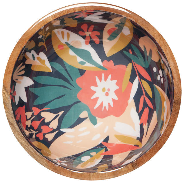 Shallow Superbloom Mango Wood Serving Bowl