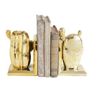 "Resin Cactus Bookends, Gold Finished S/2 5""L x 3-3/4""W x 8""H"