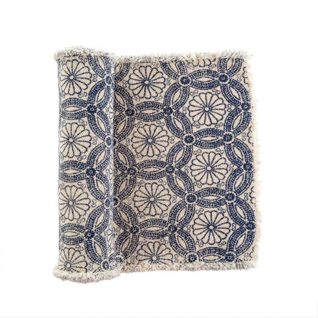 Daisy Stonewashed Table Runner Light Blue