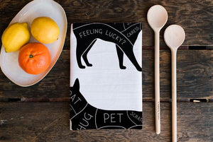 Cat & Dog Petting Tea Towel