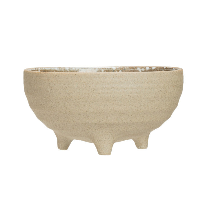 Stoneware Footed Bowl, Speckled Glaze 4-1/2