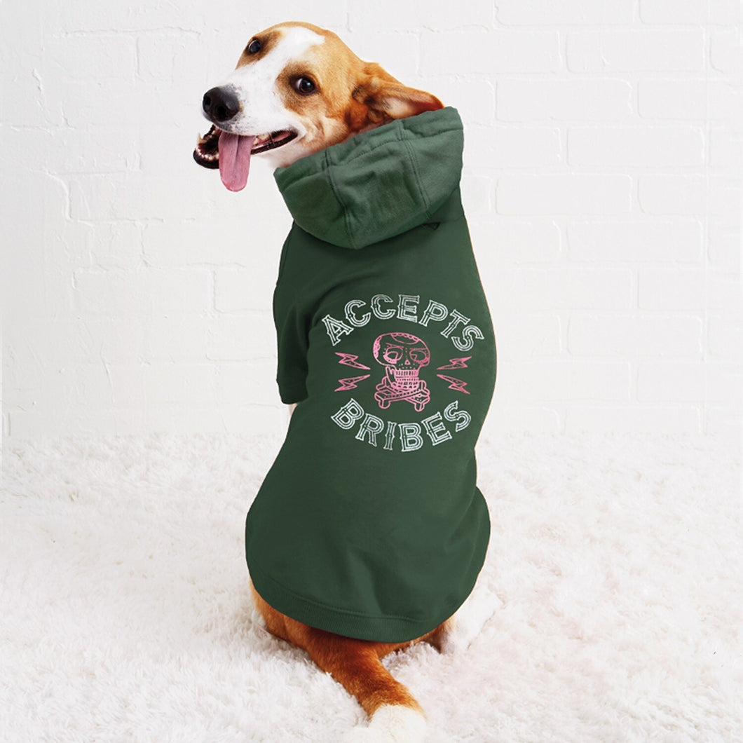 Accepts Bribes Dog Hoodie Large