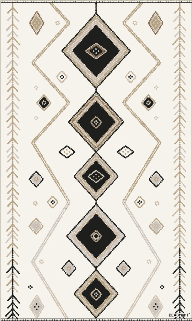 Beaumont Vinyl Floor Mat Diamond Centre Black & Cream