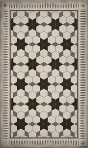 Beaumont Vinyl Floor Mat Black Stars With Grey & Cream Hexagon