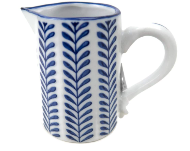 Vining Blue & White Pitcher Small
