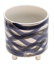 "8.5"" Abstract Blue Ceramic Footed Planter"