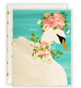 For You Floral Crowned Swan On Water Card