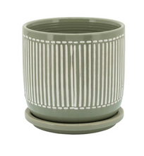 "Load image into Gallery viewer, 6"" Sage Stripe Planter with Saucer"