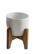 Load image into Gallery viewer, Chevron Ceramic Planter On Wood Stand