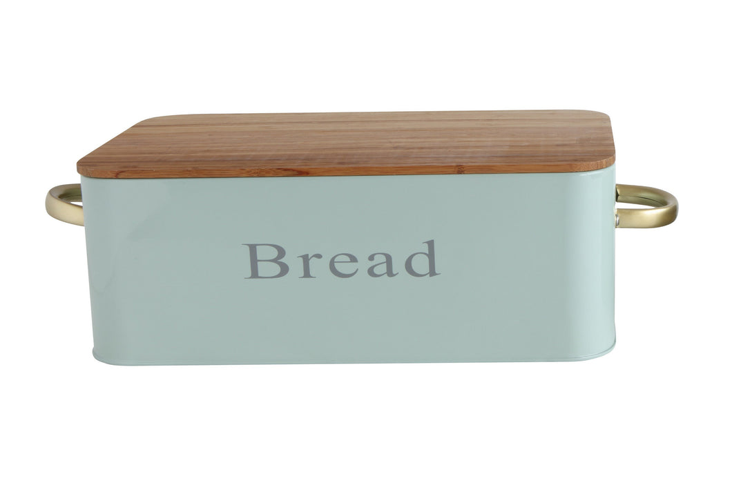 Metal Bread Bin w Bamboo Lid & Handle, Sage Green 12-1/2