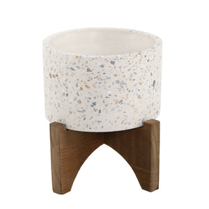 "5"" Terrazzo Neutral Planter On Wood Stand"