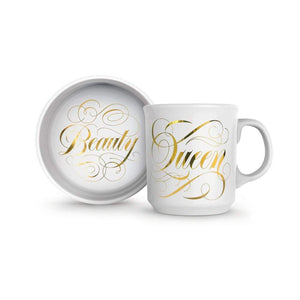 Ceramic Mug & Cat Bowl Set Beauty Queen