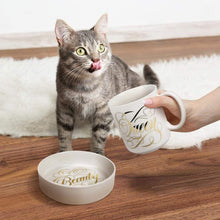 Load image into Gallery viewer, Ceramic Mug & Cat Bowl Set Beauty Queen