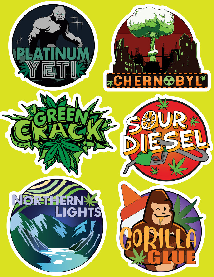 Cannabis Strain Sticker Pack - 12 Pack