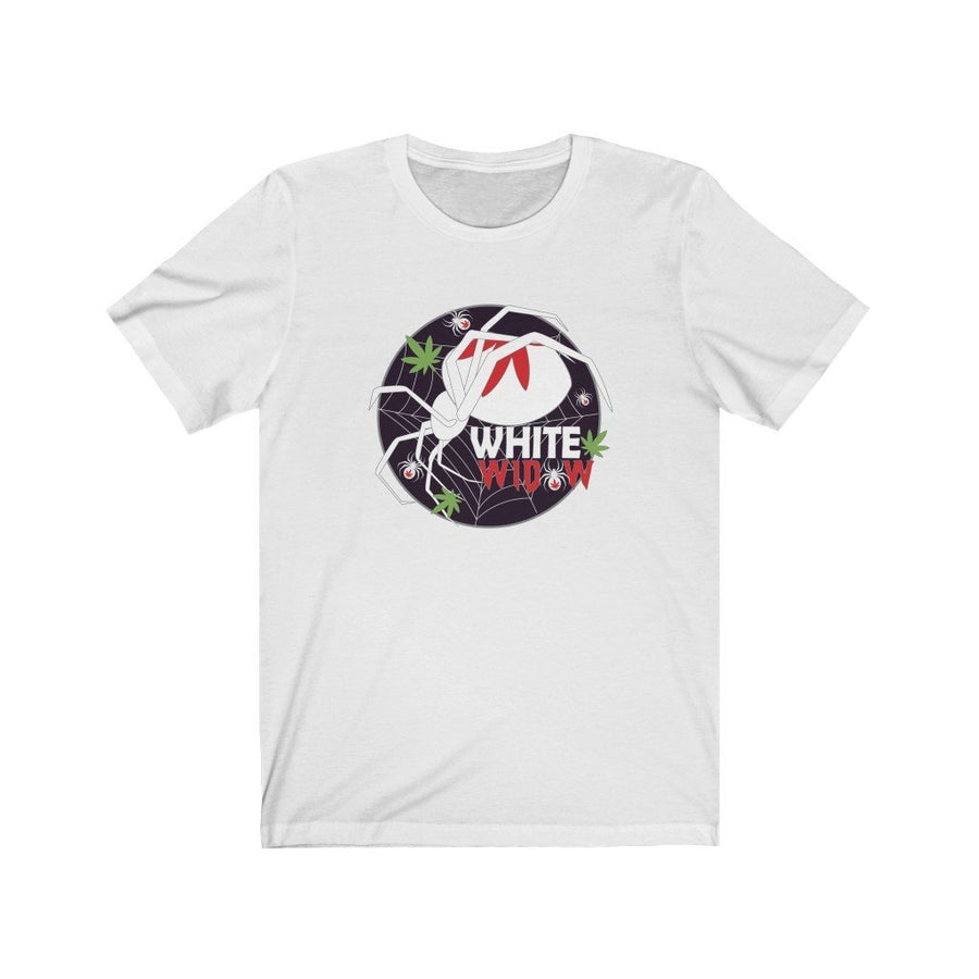 White Widow Cannabis Strain Shirt - Studio Greenleaf Premier Cannabis Merchandise | Weed Peripheral | Weed Clothing | Weed Pins
