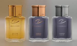 The Zaharoff TRIFECTA, Zaharoff Signature Pour Homme, Zaharoff Signature NOIR & Zaharoff Signature ROYALE (2.0 oz / 60 ml)