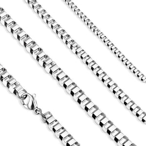 4mm Box Chain Mens Womens Silver Stainless Steel 24 inch Necklace
