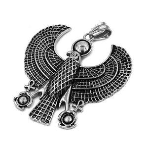 Ancient Egyptian Falcon Horus Necklace Stainless Steel Large Bird Hawk Pendant