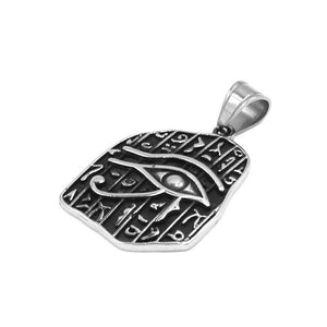 Ancient Egyptian Hieroglyphic Eye of Ra Necklace Stainless Steel Side View