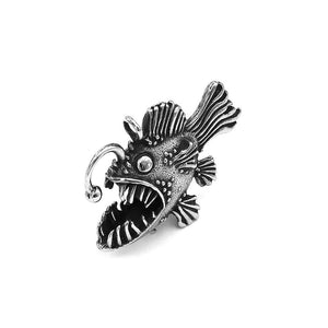 Anglerfish Necklace Stainless Steel Black Seadevil Nautical Pirate Pendant