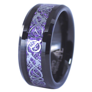 Black Tungsten Celtic Dragon Rings Purple Carbon Fiber 2
