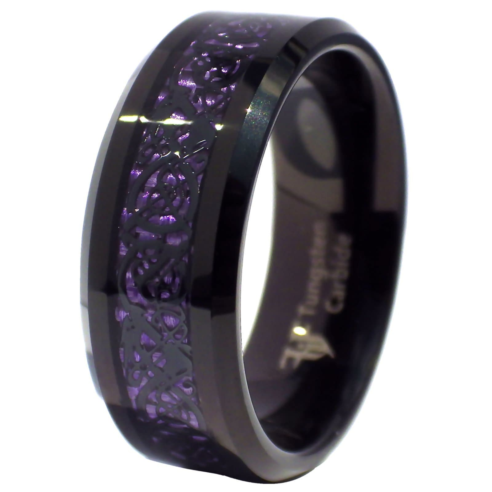 Fantasy Forge Jewelry Celtic Dragon Royal Purple 6mm Tungsten ing Womens Mens Wedding Band Size 6-9.5