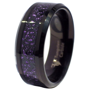 Black Tungsten Dragon Ring Purple Carbon Fiber Wedding Band 1