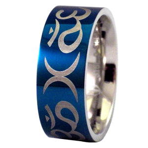 Blue Aum and Crescent Moon Stainless Steel Ring