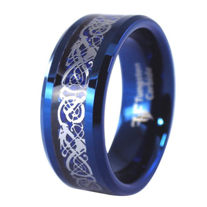 Blue Tungsten Celtic Dragon Rings With Blue Carbon Fiber 1