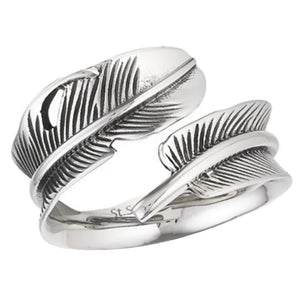 Boho Style Stainless Steel Wrap Around Feather Thumb Ring