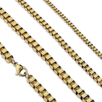 Box Chain Necklace Gold Stainless Steel 2mm 3mm 4mm 18-24 Inch