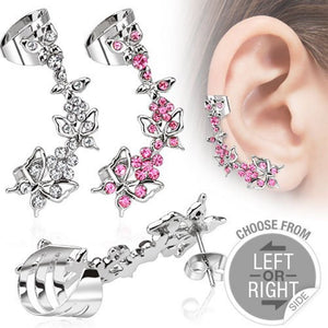 Butterfly Ear Crawler Surgical Steel Post Cuff Clear Pink Cubic Zirconia