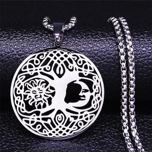 Celestial Yggdrasil Necklace Stainless Steel Sun Moon Tree of Life Pendant