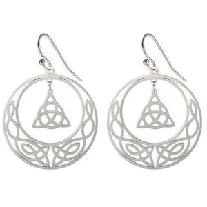 Celtic Circle Knot Earrings Stainless Steel Trinity Triquetra