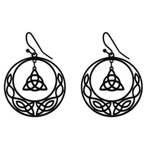 Celtic Circle Trinity Knot Earrings Black Stainless Steel