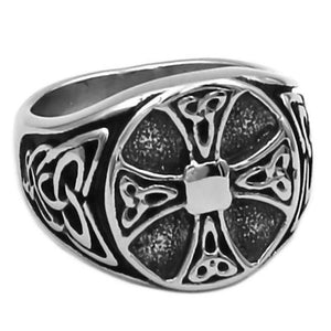 Celtic Cross Signet Ring Stainless Steel Trinity Knot Band