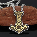 Celtic Dragon Mjölnir Necklace Gold Stainless Steel Viking Thors Hammer Pendant Wood Background