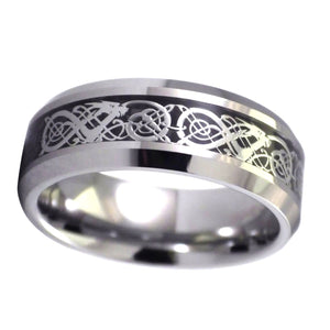 Celtic Dragon Ring Black Carbon Fiber Tungsten Wedding Band 1