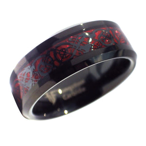 Celtic Dragon Ring Fire Red Carbon Fiber Black Tungsten Wedding Band
