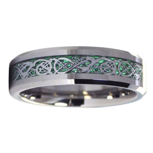 Celtic Dragon Tungsten Ring With Green Carbon Fiber