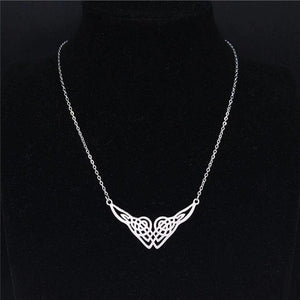 Celtic Heart Knot Necklace Womens Silver Stainless Steel Norse Knotwork Hart