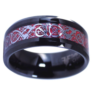 Celtic Knot Red Dragon Ring Black Tungsten Wedding Band
