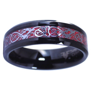 Celtic Red Dragon Ring Carbon Fiber Black Tungsten Band 6MM 2